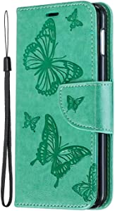 Galaxy S10e Case  SONWO Butterfly Pattern Leather Wallet Flip Case with Kickstand  Magnetic Closure and Card Holder for Samsung Galaxy S10e  Light Green