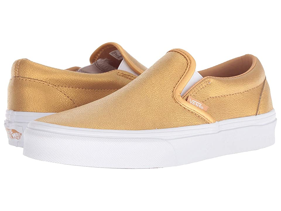 Vans Classic Slip-Ontm ((Metallic) Bronze/True White) Skate Shoes