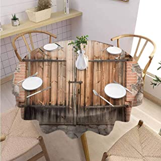 VICWOWONE Multi-Pattern Round Tablecloth Rustic Seamless Design Wooden Door of a Stone House with Wrought Iron Elements Tuscany Architecture Photo,Round - 70 inch Brown Grey