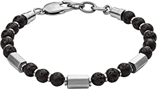 Fossil Womens Stainless Steel and Lava Stones Beaded Bracelet with Lobster Clasp