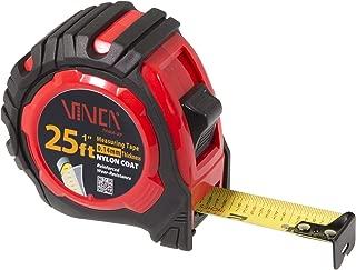 VINCA TPMA-25 25 Feet Tape Measure with Fraction Low Glare Nylon Coat Matte Finish High Visibility Blade Marking