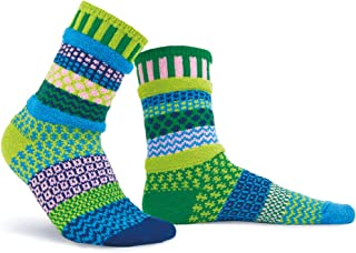 Solmate Socks - Mismatched Crew Socks; Made in USA; Water Lily Medium