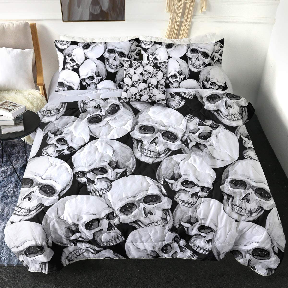 Sleepwish Mail order 3D Free Shipping New Retro Skulls Bed Comforter Black Got White King and