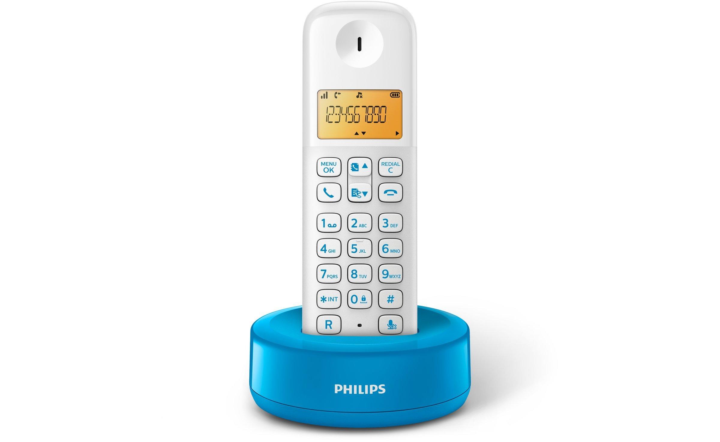 Philips D1301WA/23 - Teléfono inalámbrico con pantalla iluminada de 4.1 cm, 10hrs conversación, Blanco y azul, 1 Pieza: Amazon.es: Electrónica