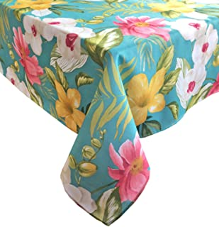 Calla Lily Teal Tropical Floral Summer and Spring Indoor/Outdoor Soil Resistant and Water Repellent Fabric Tablecloth - Patio, Picnic, BBQ, Kitchen Table Linens, 60 Inch X 84 Inch Oval, Teal