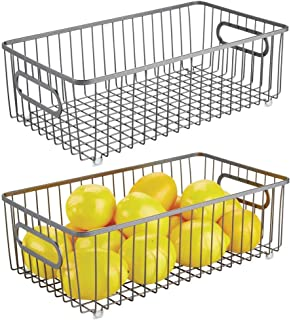 mDesign Metal Farmhouse Kitchen Pantry Food Storage Organizer Basket Bin - Wire Grid Design for Cabinet, Cupboard, Shelf, Countertop - Holds Potatoes, Onions, Fruit - Large, 2 Pack - Graphite Gray
