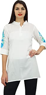 Phagun Women's Casual 3/4 Sleeve Cotton Modal Embroidered Tunic Shirt