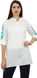 Phagun Women's Casual 3/4 Sleeve Cotton Modal Embroidered Tunic Shirt