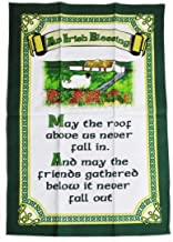 Carrolls Irish Gifts Cottage Design T-Towel With An Irish Blessing 'May the Roof Above us Never Fall'
