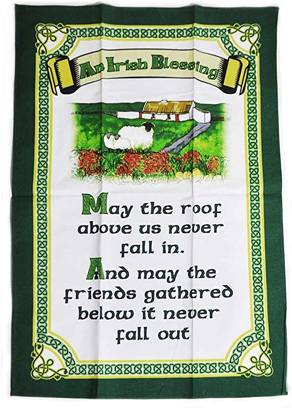 Carrolls Irish Gifts Cottage Design T Towel With An Irish Blessing May The Roof Above Us Never Fall