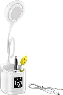 LALAYA-Lámpara Escritorio de Protege a Ojos,Flexo LED Escritorio Flexible Giratoria de 360°,luz lectura con 3 Modos de Colores y 30%-100% Brillo Regulable,Control Táctil/Alarma/Temperatura/Fecha