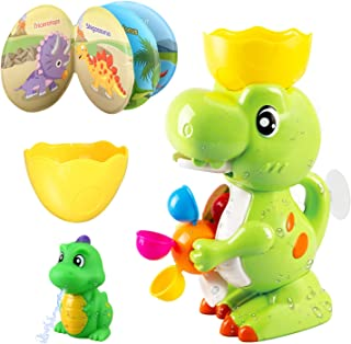 LBLA Dinosaur Bath Toys with Windmill Waterfall for Bath Time , Strong Suction Cups Bathtub Toys for Toddlers Boys Girls, ...