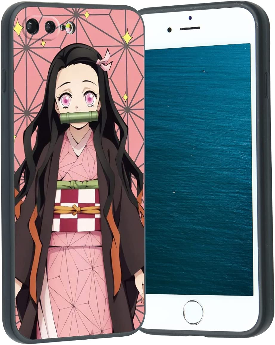 Anime Manga iPhone 8 Plus/7 Plus Case,Japanese Demon Slayer Manga Character iPhone Case for Men Boys Women Cute Cartoon Design Soft Silicone Cover Case for iPhone 8 Plus/7 Plus (Demon Slayer Nezuko)