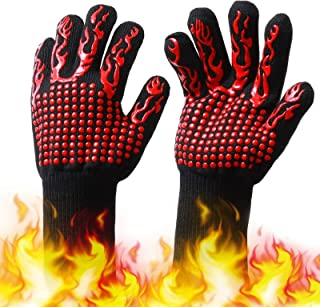 H HOME-MART 1 Pair BBQ Grill Gloves, 800 ℃ / 1432 ℉ Extreme Heat Resistant Oven Mitts,Oven Gloves with Fingers,Kitchen Glo...