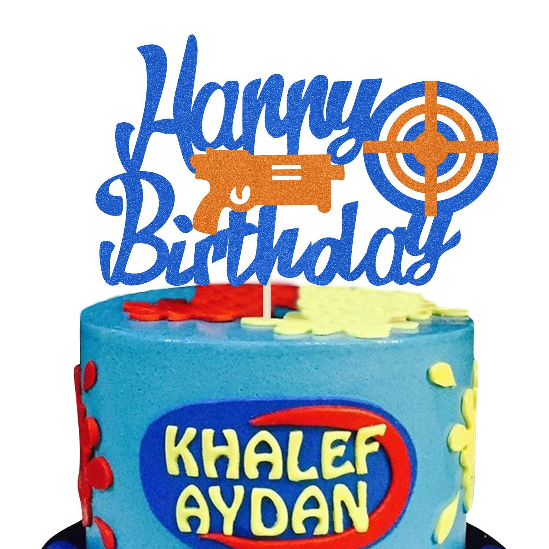 KAPOKKU Low price Glitter Happy Birthday Cake Topper for Pi Deluxe Gun Nerf Theme