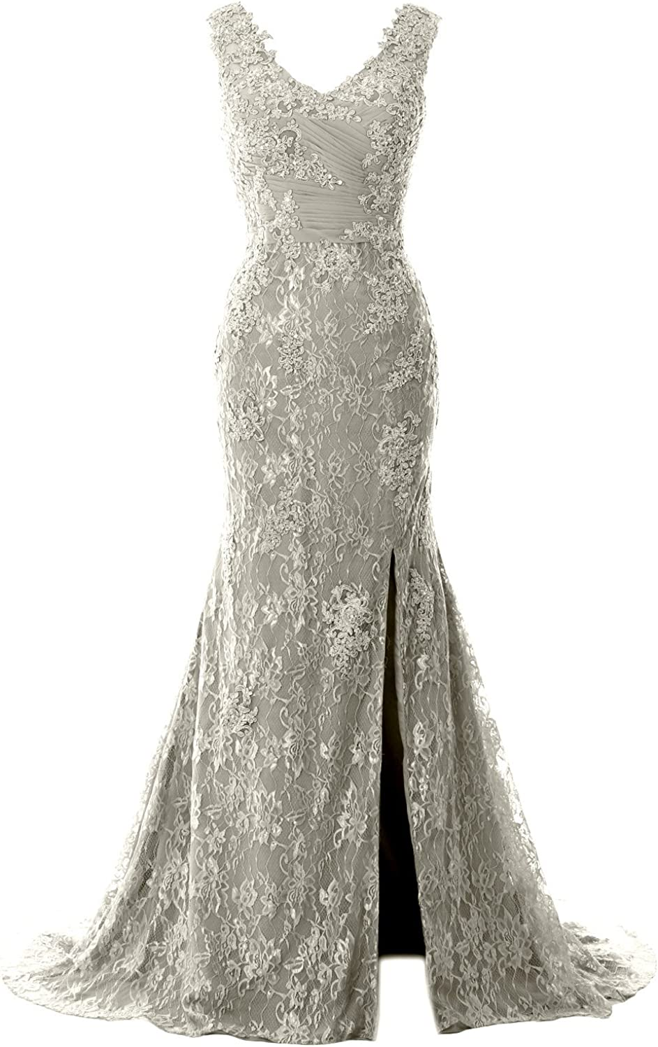 MACloth Women Mermaid Long Wedding Dresses V Neck Lace Evening Prom Gown