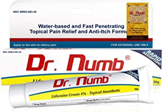 Dr. Numb Topical Anesthetic Numbing Cream | Maximum Strength Pain Relief Cream for Tattoo, Piercing, Skin Tag Removal, Waxing, Microblading, Microneedling, Dermarolling, Hair Removal, (1 Tube)