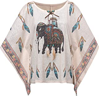 Womens Loose Bohemian Printed Batwing Blouse Indian Tribal Linen Poncho Cover up Tops with Tassle Ties