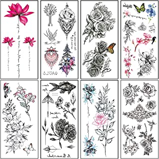 Large Realistic Temporary Tattoos for Women Adults Rose Flower Tattoo Stickers Sexy Body Art Fake Tattoo Waterproof Temp Tattoo Paper Arm Leg Sternum Back Tattoo (8 Sheets)