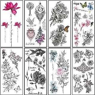 Large Realistic Temporary Tattoos for Women Adults Rose Flower Tattoo Stickers Sexy Body Art Fake Tattoo Waterproof Temp Tattoo Paper Arm Leg Sternum Back Tattoo (8 Sheets)