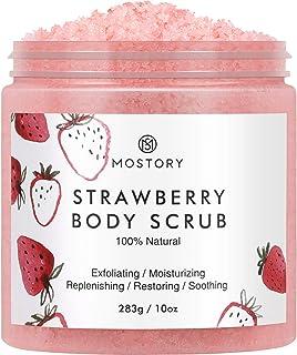 Sweet Strawberry Exfoliating Body Scrub - Organic Dead Sea Salt Natural Exfoliator Anti Aging Acne Cellulite Wrinkles Moisturizing Nourishing Vitamin E Vitamin C Coconut Oil Scrubs for Women Men 10 oz