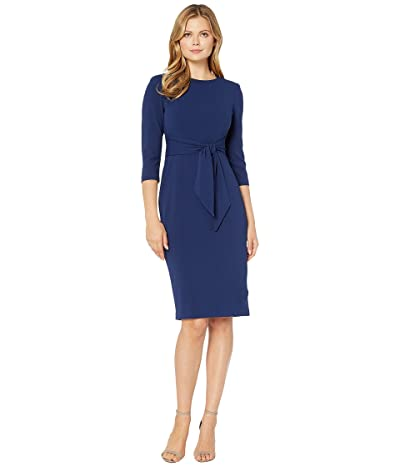 Adrianna Papell Knit Crepe Tie Waist Sheath Dress (Navy Sateen) Women