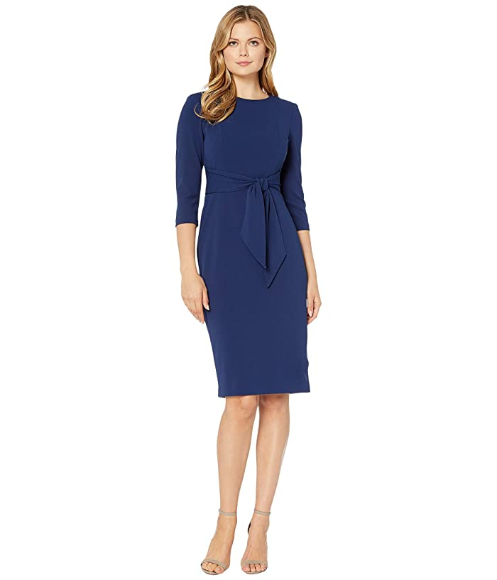 Adrianna Papell  Knit Crepe Tie Waist Sheath Dress (Navy Sateen) Womens Dress