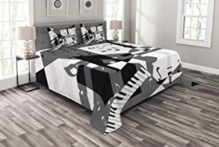 Lunarable Musical Bedspread, Futuristic Music Notes and Line Paper Theme Mosaic Collage Design, Decorative Quilted 3 Piece Coverlet Set with 2 Pillow Shams, Queen Size, Black Grey
