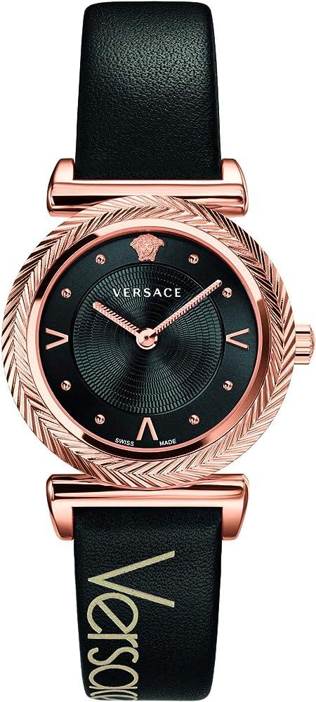 Versace V-Motif orologio da donna CON CASSA IN ACCIAIO PLACCATO ORO ROSA E CINTURINO IN VERA PELLE Vere00818