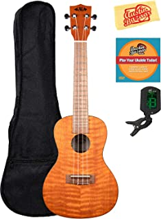 Kala KA-CEM Exotic Mahogany Concert Ukulele Bundle with Gig Bag, Clip-On Tuner, Austin Bazaar Instructional DVD, and Polishing Cloth