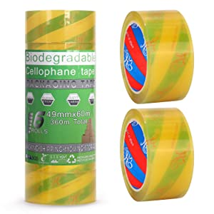 Baokai Biodegradable Cellophane Tape 6 Rolls, 1.93 Inch x 65.6 Yards Clear Packaging Tape for Parcels and Boxes Eco Friendly Packing Tape, Recyclable, Compostable, Oil to Water, Static-Free