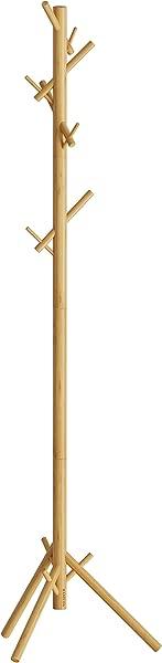 BAMEOS 竹树衣帽架支架易于组装无需工具 3 个可调尺寸自由站立衣帽架衣服架配件 8 个挂钩自然色