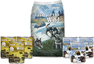 Taste of the Wild Pacific Stream Puppy Food Grain Free 5lb Bag, 6 Cans, 1 Lid, 1 Dog Toy & 1 Leash