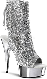 Silver Glitter Ankle Boots with Silver Chrome 6 Inch Heels and Lace Up Back
