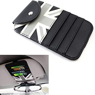 iJDMTOY (1 Black/Grey Union Jack UK Flag Style Sun Visor Organizer Holder for Sunglasses, Credit Cards, FasTrak Transponder, Reader, Garage Remote, etc
