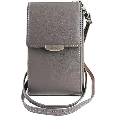 ZhengYue Frauen Brieftasche Crossbody Tasche Leder Geldbörse Handy Mini-Tasche Kartenhalter Schulter Brieftasche Tasche Grau