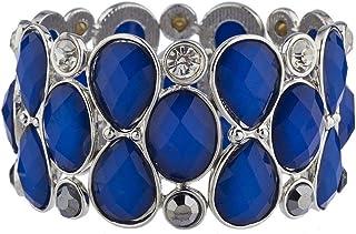 Lux Accessories Crystal Teardrop Shimmer Stone Stretch Bracelet