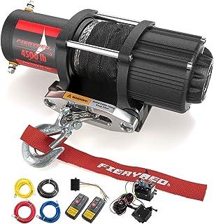 Fieryred - Kit de cabrestante de cuerda sintética eléctrica para remolcar ATV/UTV todoterreno, con soporte de montaje inal...