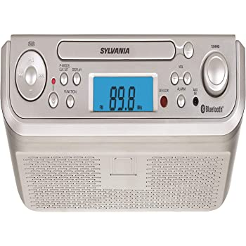 Sylvania SKCR2713 Under Counter CD Player with Radio and Bluetooth, Silver (Renewed)