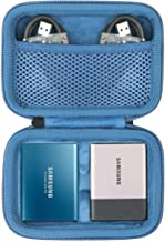 Hard Travel Case for Samsung T3 T5 Portable 250GB 500GB 1TB 2TB SSD USB 3.0 External Solid State Drives by co2CREA (2-in-1 Case + Inside Blue)