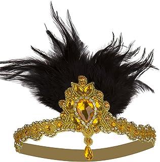 Vijiv Vintage Silver Beaded 20s Headpiece 1920s Gatsby Flapper Headband Feather