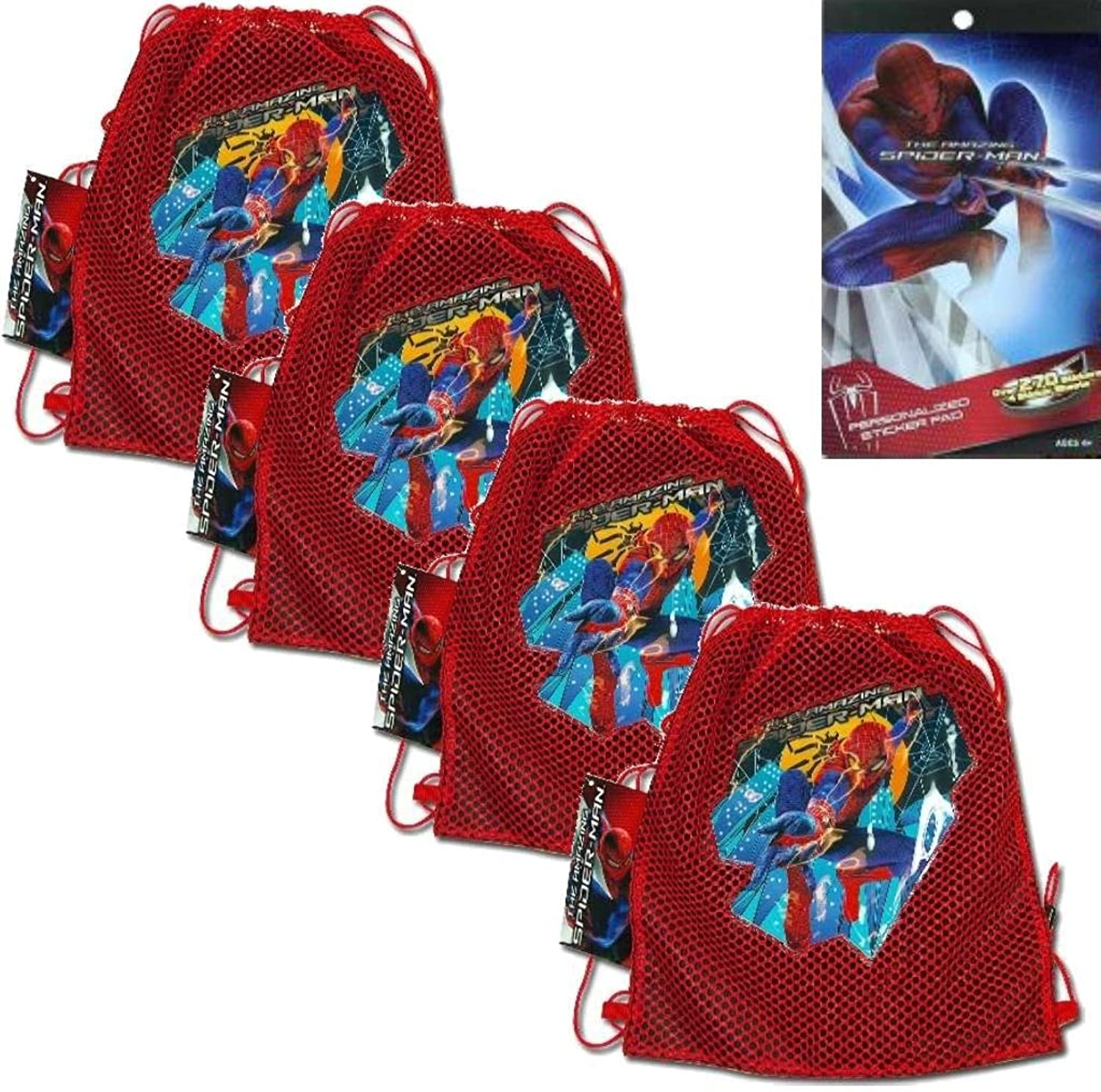 5-Piece Marvels The Amazing Spider-Man Spider-Man Spider-Man Mesh Sling Tote Bags - 4 The Amazing Spider-man Mesh Front Sling Backpack Tote Party Favor Bags (10.5  x 12 ) PLUS 1 Spiderman Sticker Pad with over 270 Stickers (4 Sheets) for Kids by TopValueSupplies (English Manua fccf55