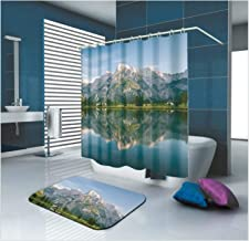 Epinki Polyester Shower Curtain Decorative Bathroom Accessories Gray Mountains Lake Bathroom Curtain with 12 Hooks Size 18...