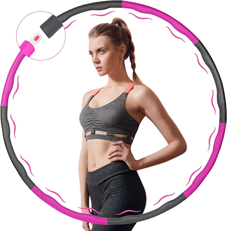 SAMIT Hula Hoop Reifen Erwachsene, Hula Hoop Kinder zur Gewichtsreduktion und Massage, 6-8 Segmente Abnehmbarer Hoola Hoop Reifen Erwachsene Geeignet Für Fitness/Sport mit Mini Bandmaß