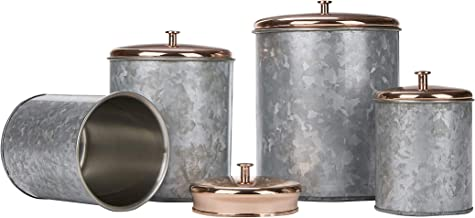 Mind Reader NESTCAN4-SIL Double Wall Galvanized Set with Lid, Canisters, Food Storage Containers, Kitchen, Coffee, Cookies...