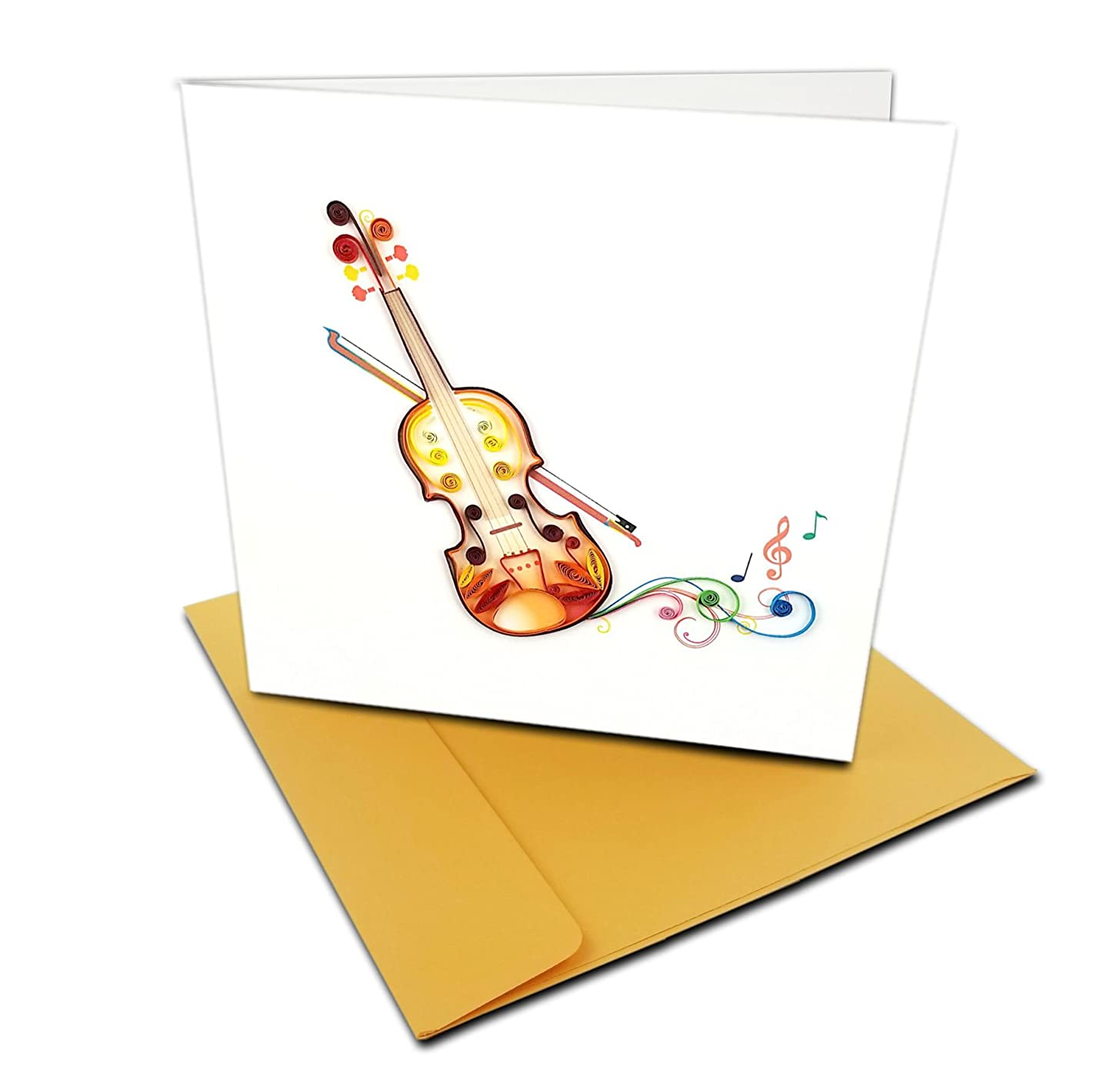 Violin with Musical Notes Quilling Greeting Card, 6x6
