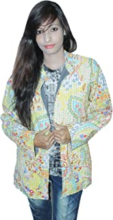 Indian 100% Cotton Women Girl's Ethnic Multi Color Coat Outwear Floral Print Kantha Work Jacket