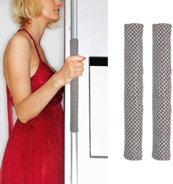 Cubiertas para manija de puerta de refrigerador, manijas de cocina, protector de decoración, antimanchas antiestáticas, guantes para frigorífico, hornos y lavavajillas (1 par) (tamaño: 40 cm)