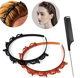 Double Bangs Hairstyle Hairpin&comb for Girls Women Twist Plait Headbands Headbands 3 Pcs Hollow Woven Headband with Clips...