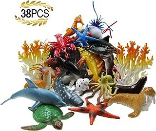 HAFUZIYN Ocean Sea Animal, Assorted Mini Sea Creatures Toys Set, Realistic Underwater Sea Animals Figure Bath Toy, 38Piece Set